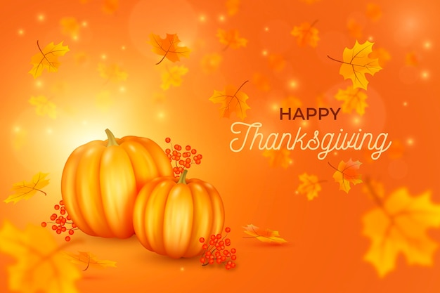 Realistic thanksgiving background with pumpkins and leaves Free Vector