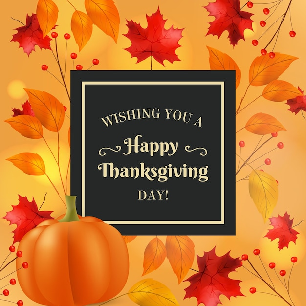 Realistic thanksgiving banner Free Vector