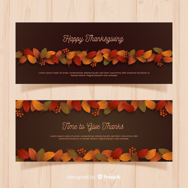 Realistic thanksgiving banners Free Vector