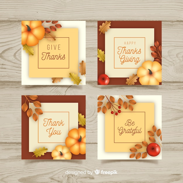 Realistic thanksgiving cards set Free Vector