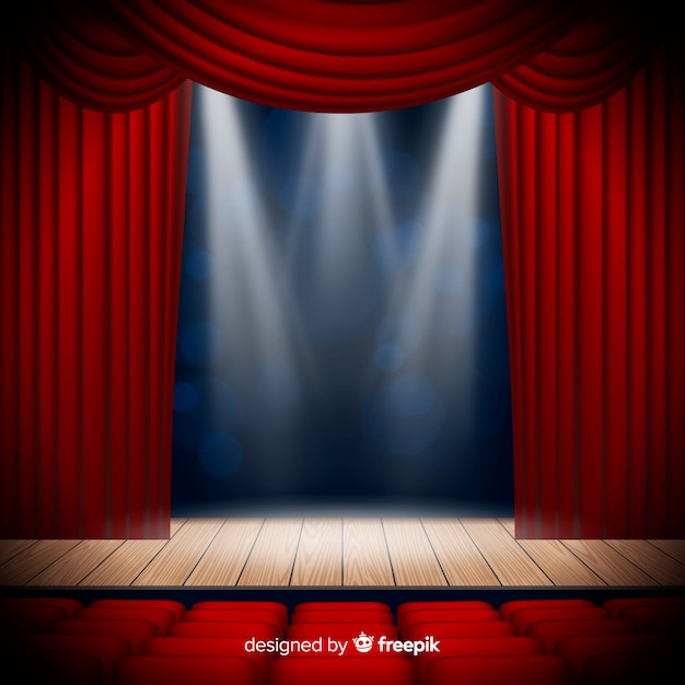 Realistic theatre stage with seats Free Vector
