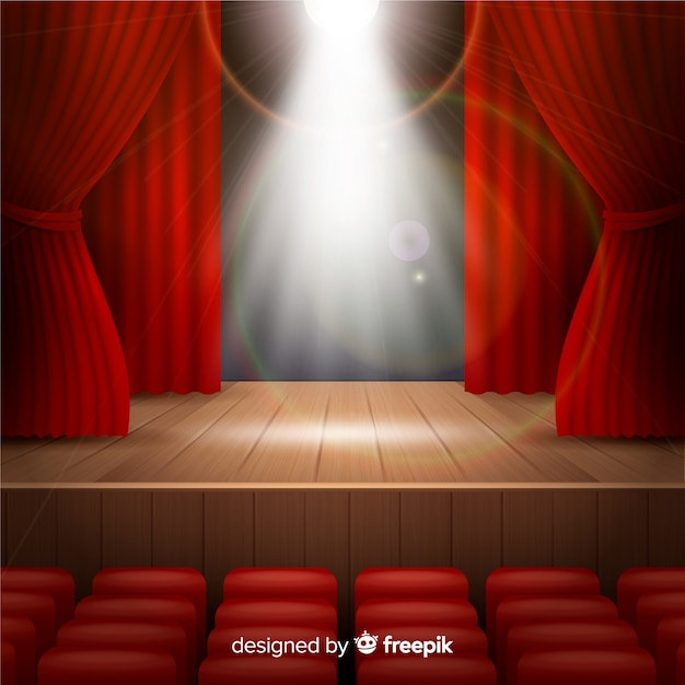 Realistic theatre stage with spotlights Free Vector
