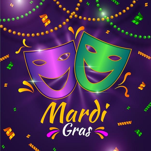 Realistic theme for mardi gras event Free Vector