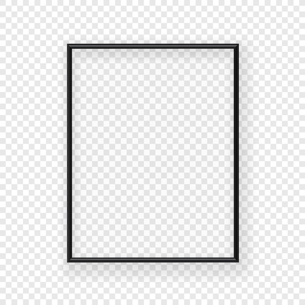 Realistic thin black picture frame on a wall. vector illustration isolated on transparent background Premium Vector