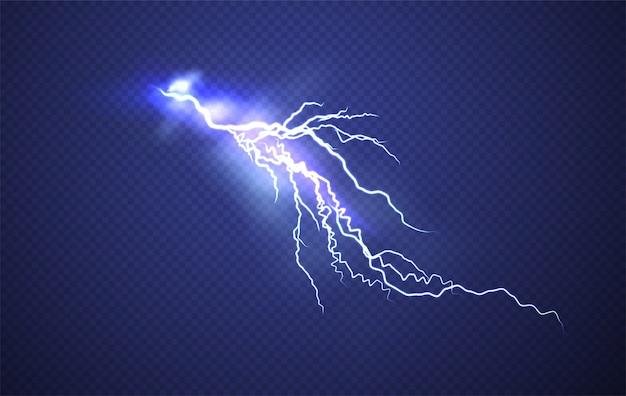 現実的な雷の背景 Premiumベクター
