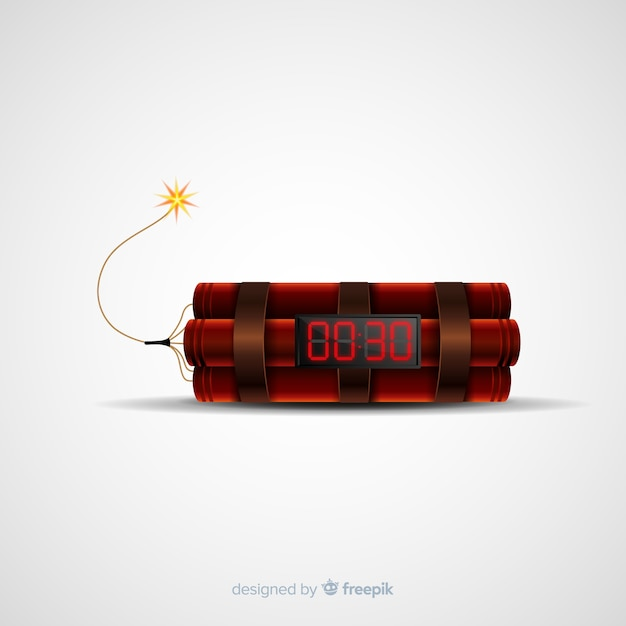 Realistic time bomb with dynamite Free Vector