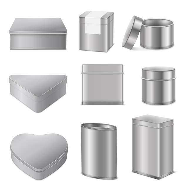 Realistic tin boxes packaging set Premium Vector