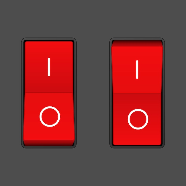 Realistic toggle switch. on and off positions Premium Vector