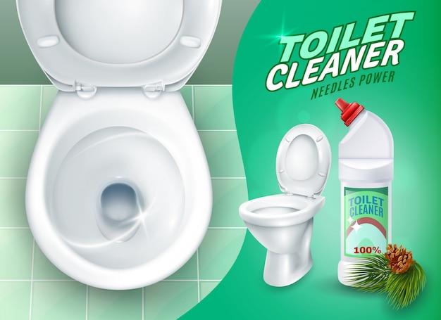 現実的なトイレとクリーナージェルポスター 無料ベクター