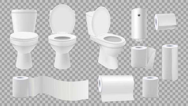 Реалистичный унитаз. аксессуары для туалета, изолированные на прозрачном фоне. Premium векторы