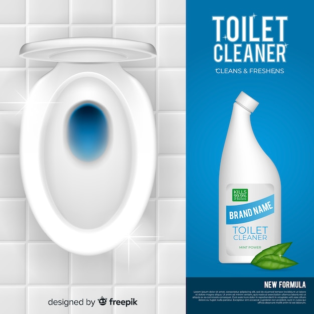 Realistic toilet cleaner background Free Vector