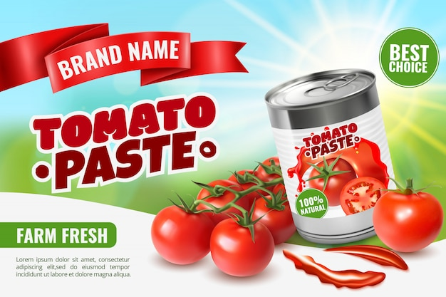 Realistic tomato ads  with branded metal can container editable text and images of ripe tomatoes Free Vector