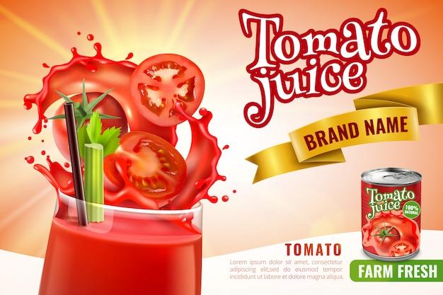 水しぶきと編集可能なテキストと赤いカクテルで満たされたガラスと現実的なトマトジュース組成 無料ベクター