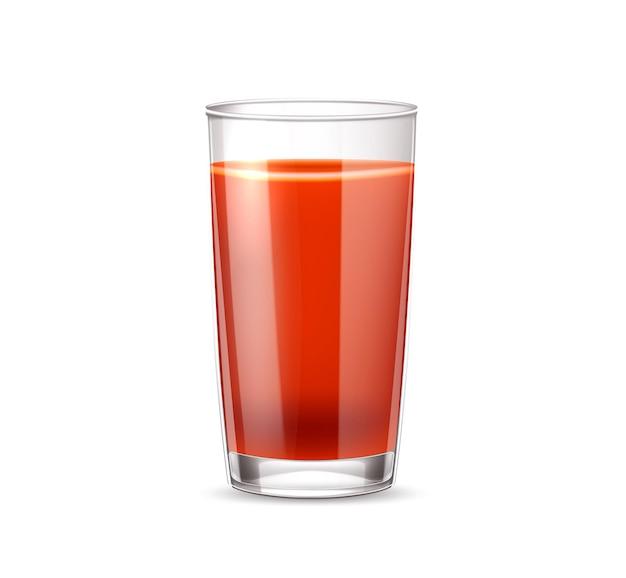 현실적인 토마토 주스 유리. 빨간 주스 컵, 건강한 식습관을위한 신선한 야채 음료. 유기농 음료, 피 묻은 결혼 칵테일 여름 파티. 채식 음료 프리미엄 벡터