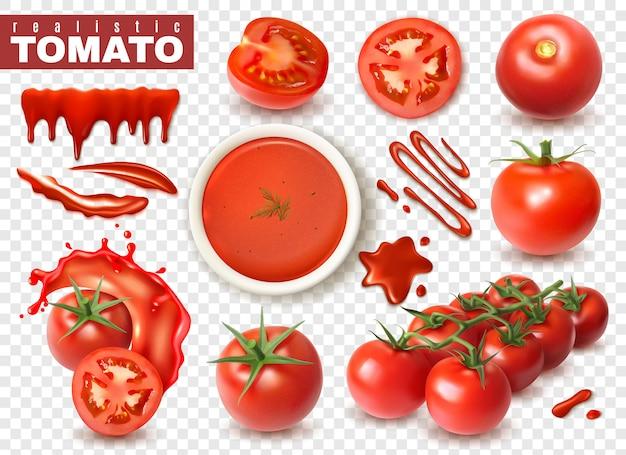 주스의 전체 과일 조각 밝아진 격리 된 이미지와 투명 세트에 현실적인 토마토 무료 벡터