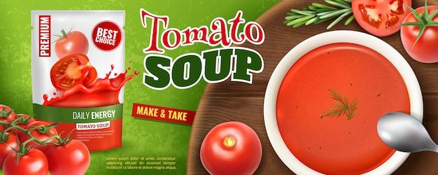 ブランドパッケージとスープで満たされたプレートと木の板で現実的なトマトスープ広告 無料ベクター
