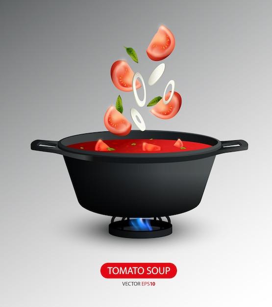 現実的なトマトスープ料理のコンセプト 無料ベクター