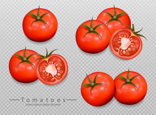 Realistic tomatoes collection Premium Vector