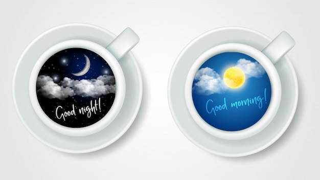 Realistic top view coffee cups Premium Vector