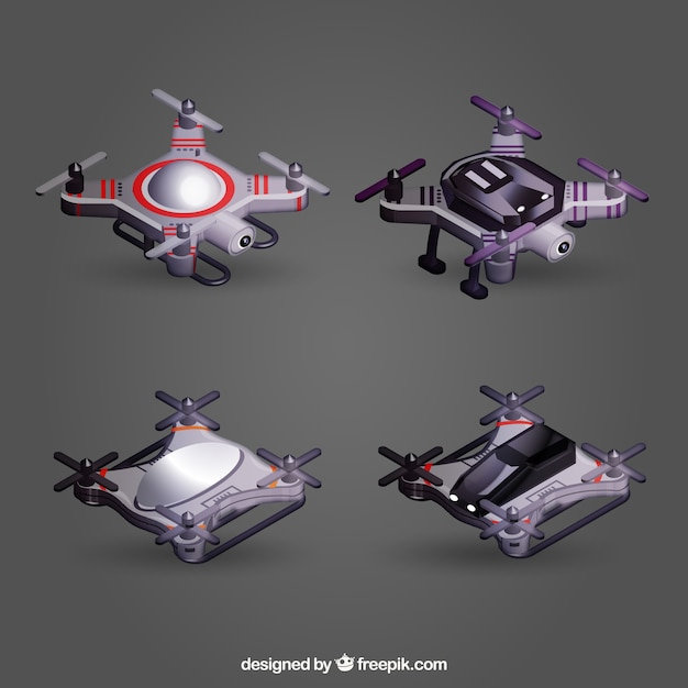 Realistic top view drone set
