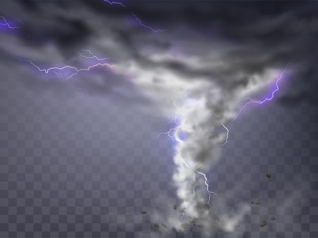 Realistic tornado with lightnings, destructive hurricane isolated on transparent background. Free Vector
