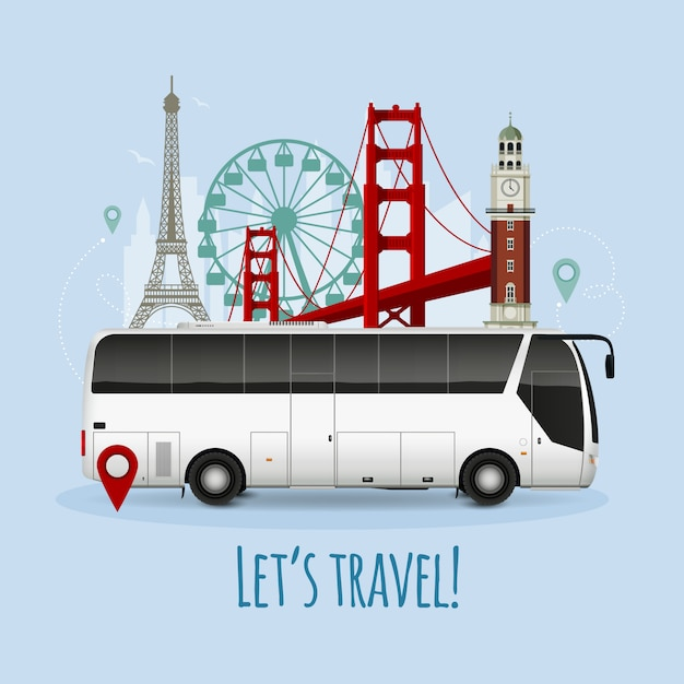 Realistic touristic bus illustration Free Vector