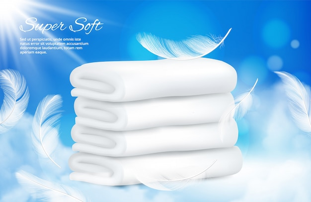 Realistic towels background. white towels with feathers Premium Vector