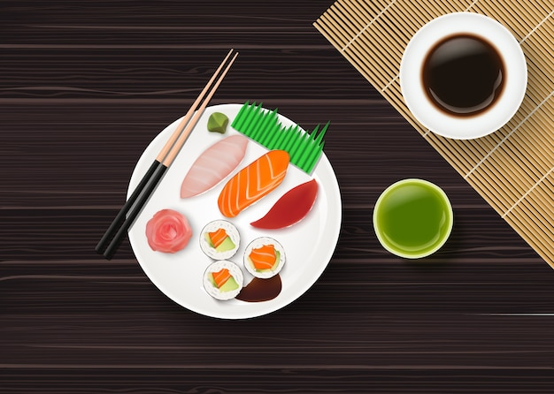 Realistic traditional japanese sushi on wooden table Premium Vector