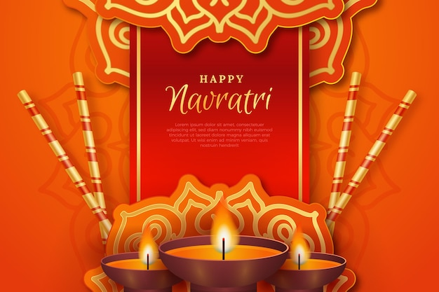 Realistic traditional navratri background Free Vector