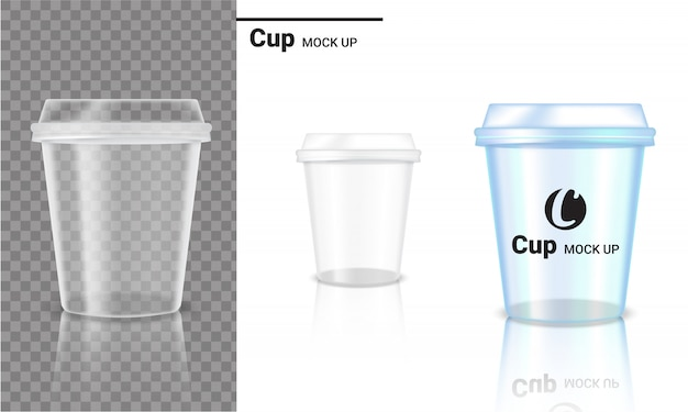 Realistic transparent cup plastic packaging product and logo design Premium Vector