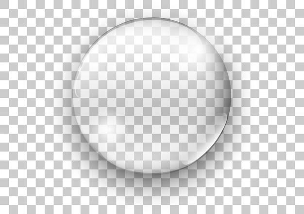 사실적인 투명 유리. 물 비누 거품. 벡터 일러스트입니다. 프리미엄 벡터