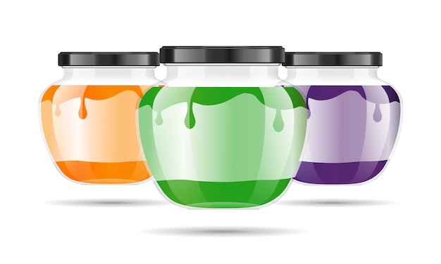 Realistic transparent glass jar with jam, confiture or sauce. Premium Vector