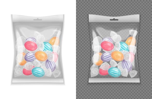 Insieme realistico realistico del pacchetto della caramella del lollypop isolato Vettore gratuito