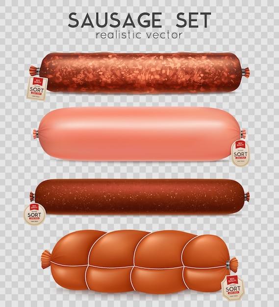 Realistic transparent sausage set Free Vector