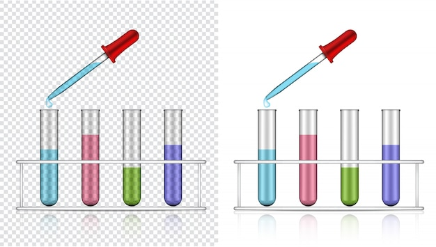 Realistic transparent test tube plastic or glass for science Premium Vector