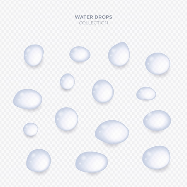 Realistic transparent water drops collection Free Vector