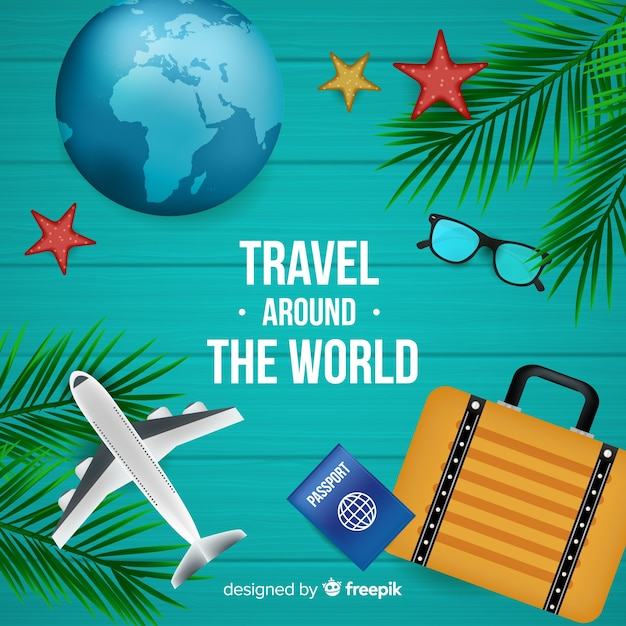 Realistic travel background Free Vector