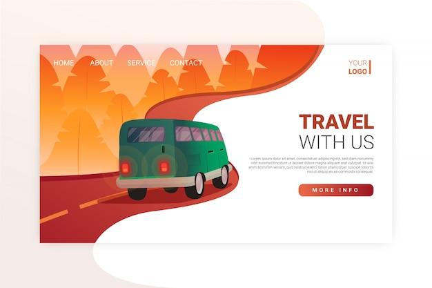 현실적인 여행 방문 페이지 템플릿 무료 벡터