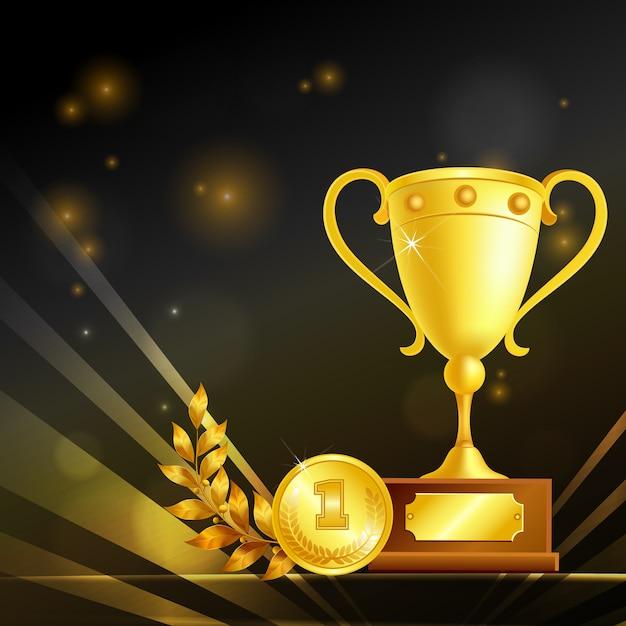 Реалистичные трофеи победителя, золотой кубок, медаль и лавровая ветвь, композиция на черном Бесплатные векторы
