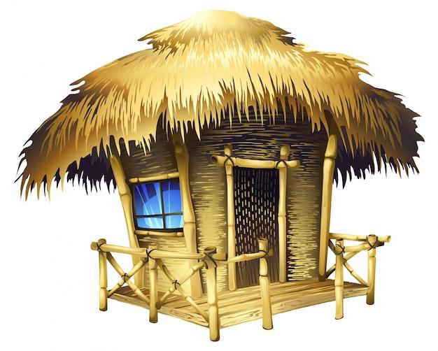 Realistic tropical bungalow Premium Vector