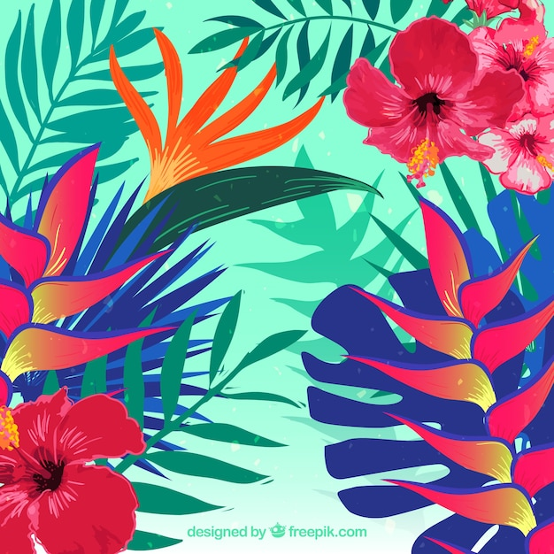 Realistic tropical flower background