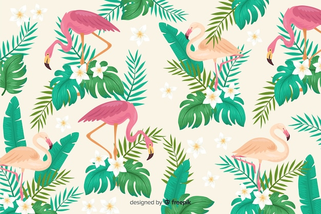 Realistic tropical leaves and birds background Free Vector