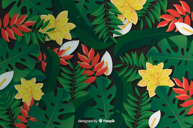 Realistic tropical leaves and flowers background Free Vector