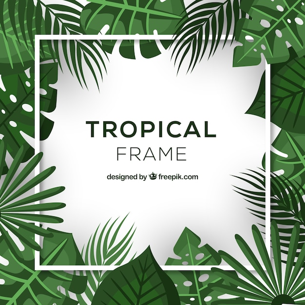 Realistic tropical leaves frame Free Vector