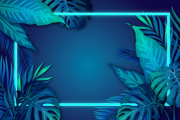 Free Vector Realistic Tropical Leaves With Neon Frame With Copy Space Summer sale banner template with neon text palm leaves and clouds tropical backdrop promo badge for your seasonal design vector illustration. free vector realistic tropical leaves