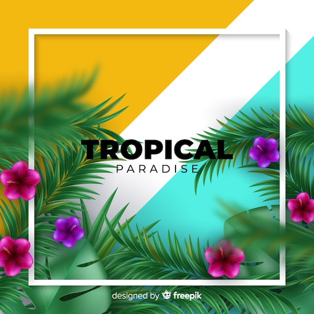 Realistic tropical plants background Free Vector