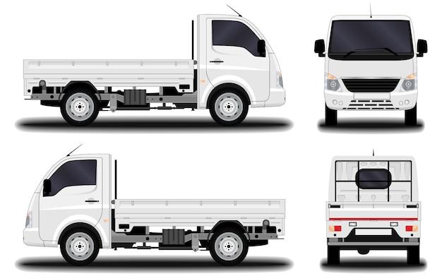 現実的なトラック。正面図;側面図;背面図。 Premiumベクター