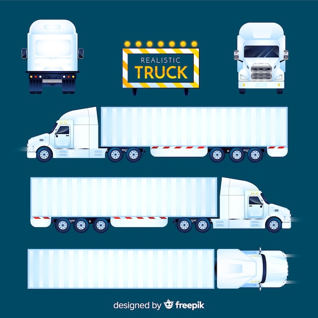 Realistic truck perspectives collection Free Vector