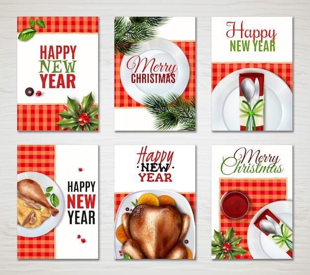 Realistic turkey christmas banner set Free Vector