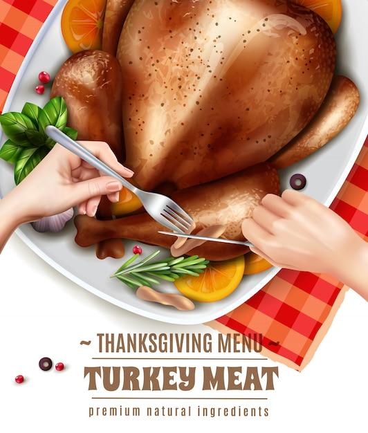 Realistic turkey illustration Free Vector
